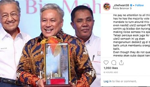 Chef Wan Dakwa Peneroka Felda Malas?