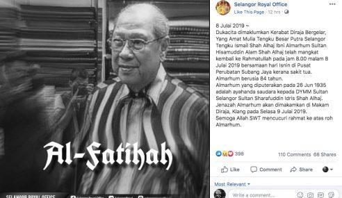 Ayahanda Saudara Sultan Selangor Mangkat