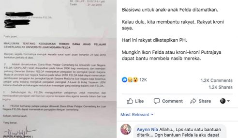 Najib Kecewa Biasiswa Luar Negara Anak Felda Ditamatkan