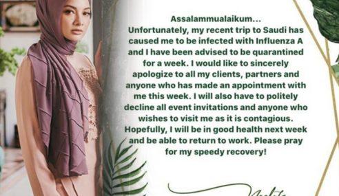 Neelofa Dijangkiti Influenza A, Mohon Maaf Batal Temujanji