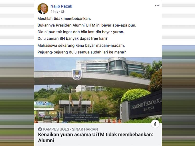 """""""Presiden Alumni UiTM Tak Bayar Apa-Apa Pun"""" – Najib"""