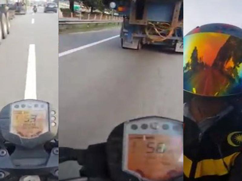 Polis Siasat Video Penunggang Motosikal Mencelah Bawah Treler