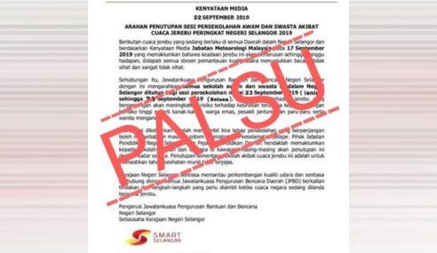 Jerebu: Arahan Semua Sekolah Di Selangor Tutup 2 Hari Palsu