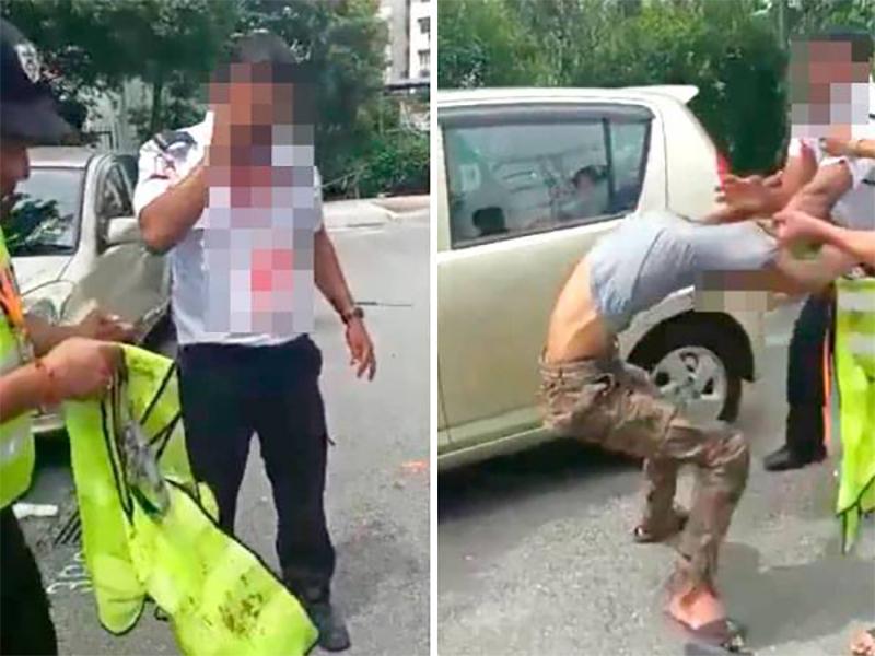 Lelaki Rambut Oren Pukul Pengawal Keselamatan Ditahan