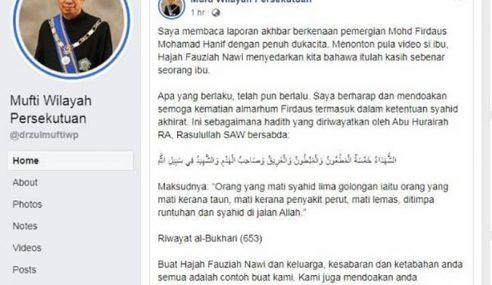 Mufti WP Doakan Pitt Haniff Termasuk Golongan Syahid Akhirat