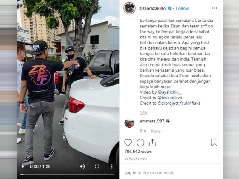 Zizan Dipuji Netizen Bantu Orang Awam Di Jalanan