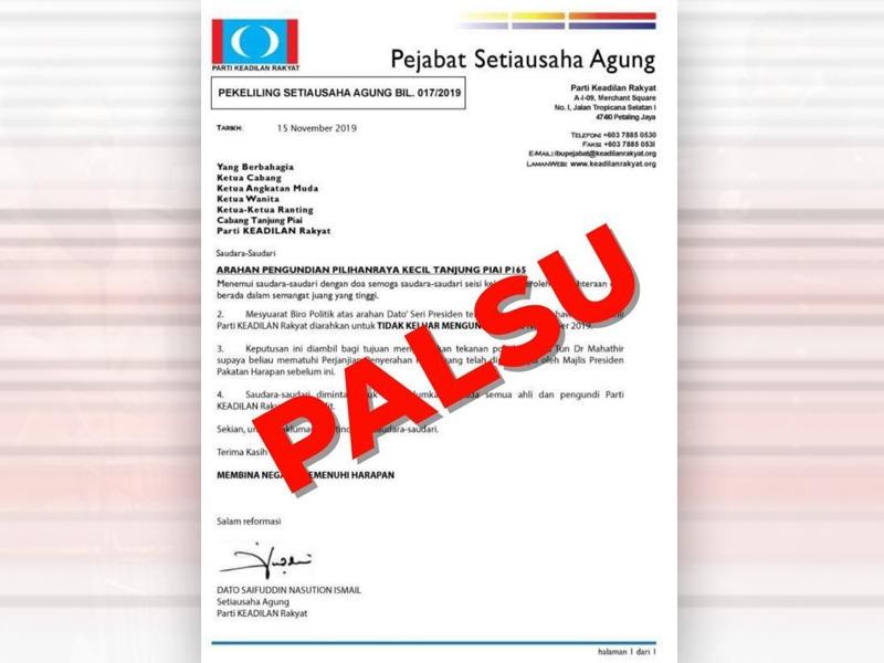PKR Nafi Arah Ahli Jangan Keluar Mengundi