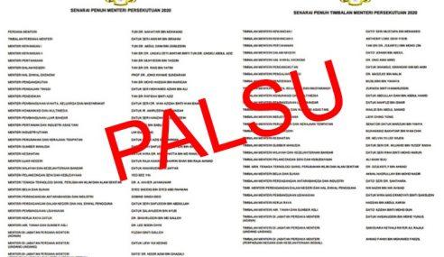 Senarai Menteri Persekutuan 2020 Tular Disahkan Palsu