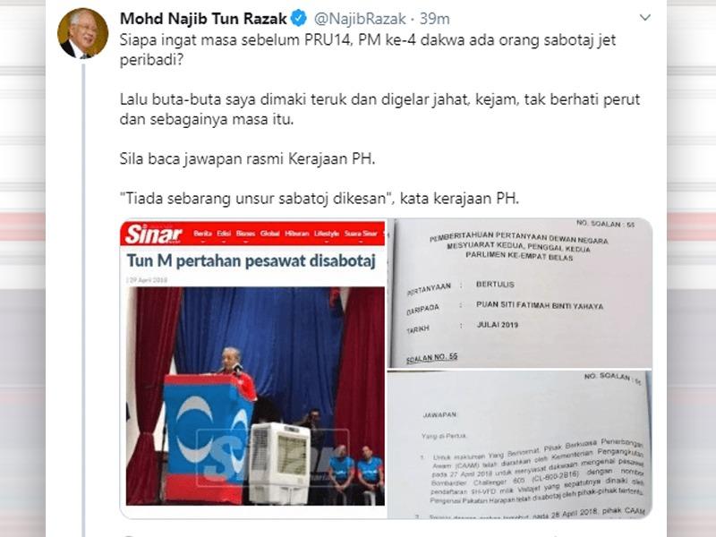 Kenyataan MOT Bukti Najib Tak Sabotaj Pesawat Mahathir