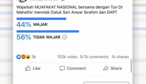 Majoriti Tolak Kerjasama Muafakat Nasional Dengan Mahathir