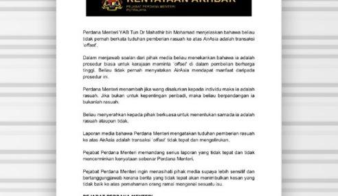 Mahathir Tak Kata AirAsia Dapat Manfaat Prosedur 'Offset'