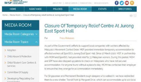 Pusat Perlindungan 30 Pekerja Malaysia Di Singapura Tutup