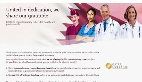 Qatar Airways Beri 10,000 Tiket Percuma Untuk 'Frontliners'