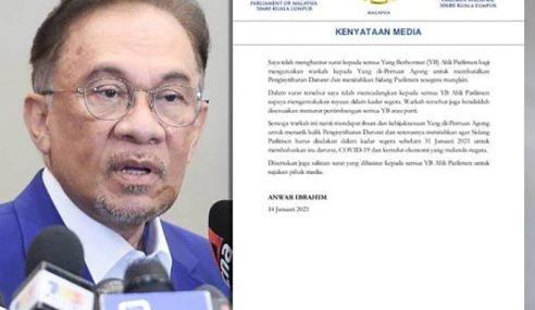 Anwar Hantar Surat Kepada MP Rayu Agong Batal Darurat