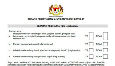 KKM Mula Edar Borang Suntikan Vaksin COVID-19
