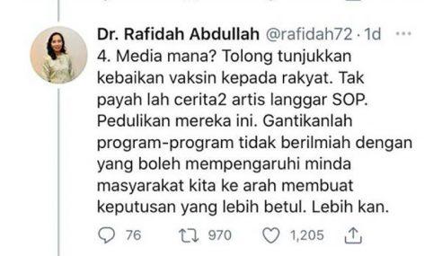 KKM Panggil Dr Rafidah Perjelas Isu Mempersoal Media