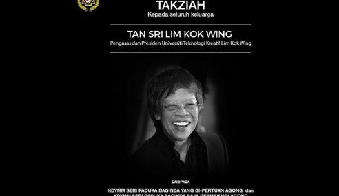 Agong Zahir Takziah Kepada Keluarga Lim Kok Wing