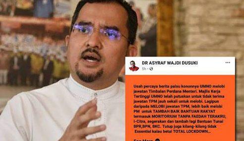 Asyraf Wajdi Nafi UMNO Lobi Jawatan TPM